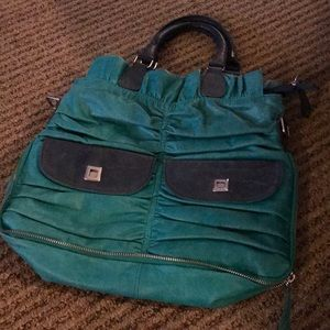 Blue and green leather bag